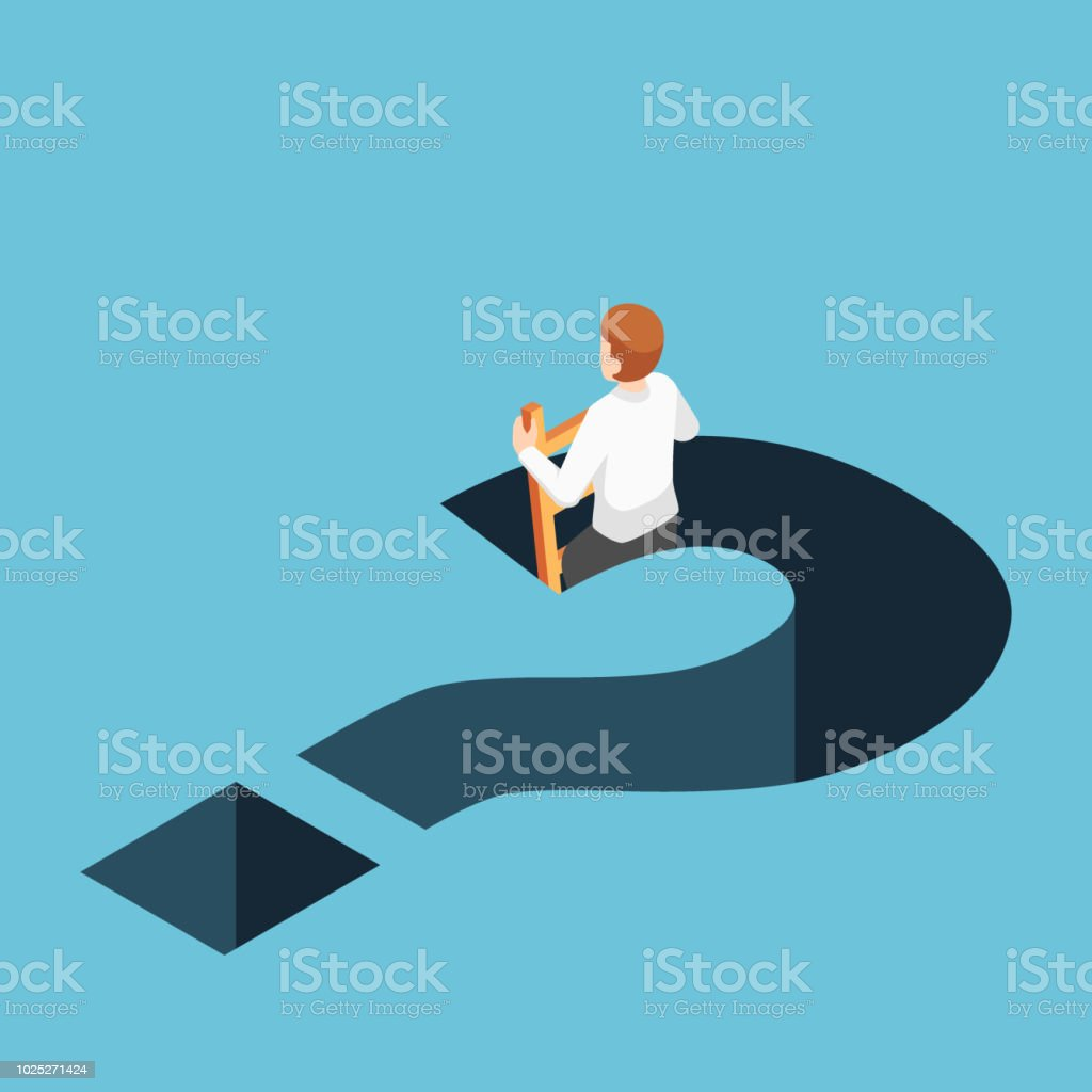 Isometric businessman climbing up from question mark hole vector art illustration