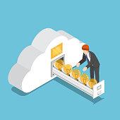 Flat 3d isometric businessman collect idea light bulb in cloud shape room. Business idea and cloud computing concept.