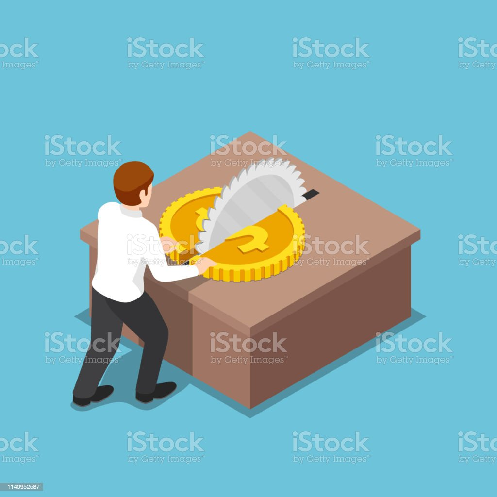 Isometric Businessman Cut A Coin In Half On Table Saw Stock
