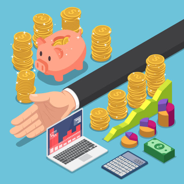 Isometric businessman divide the money for saving and investing vector art illustration