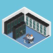 Flat 3d isometric businessman doing diagnostic test in database center or server computer room. Database server management concept.
