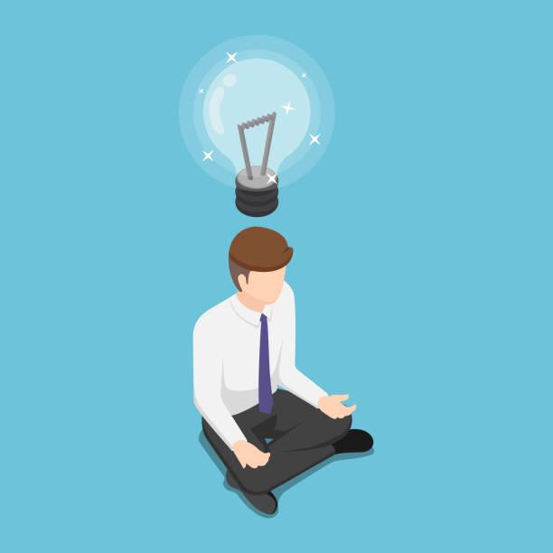 Isometric businessman doing meditation and get new idea vector art illustration