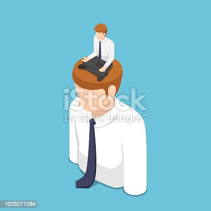 Flat 3d isometric businessman doing meditation in lotus position on the business people head. Meditation concept.