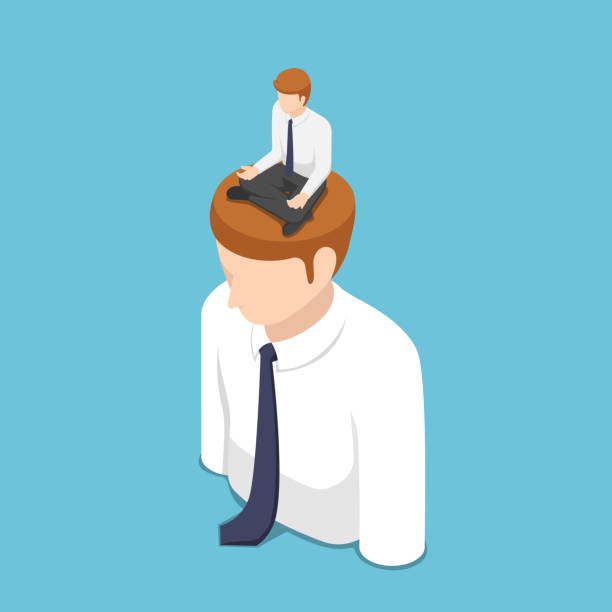 Isometric businessman doing meditation in lotus position on the business people head vector art illustration