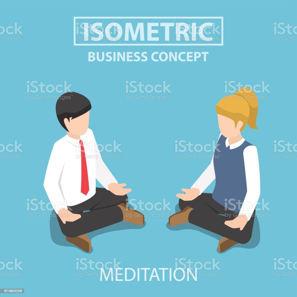 Isometric businessman doing yoga in lotus pose. vector art illustration