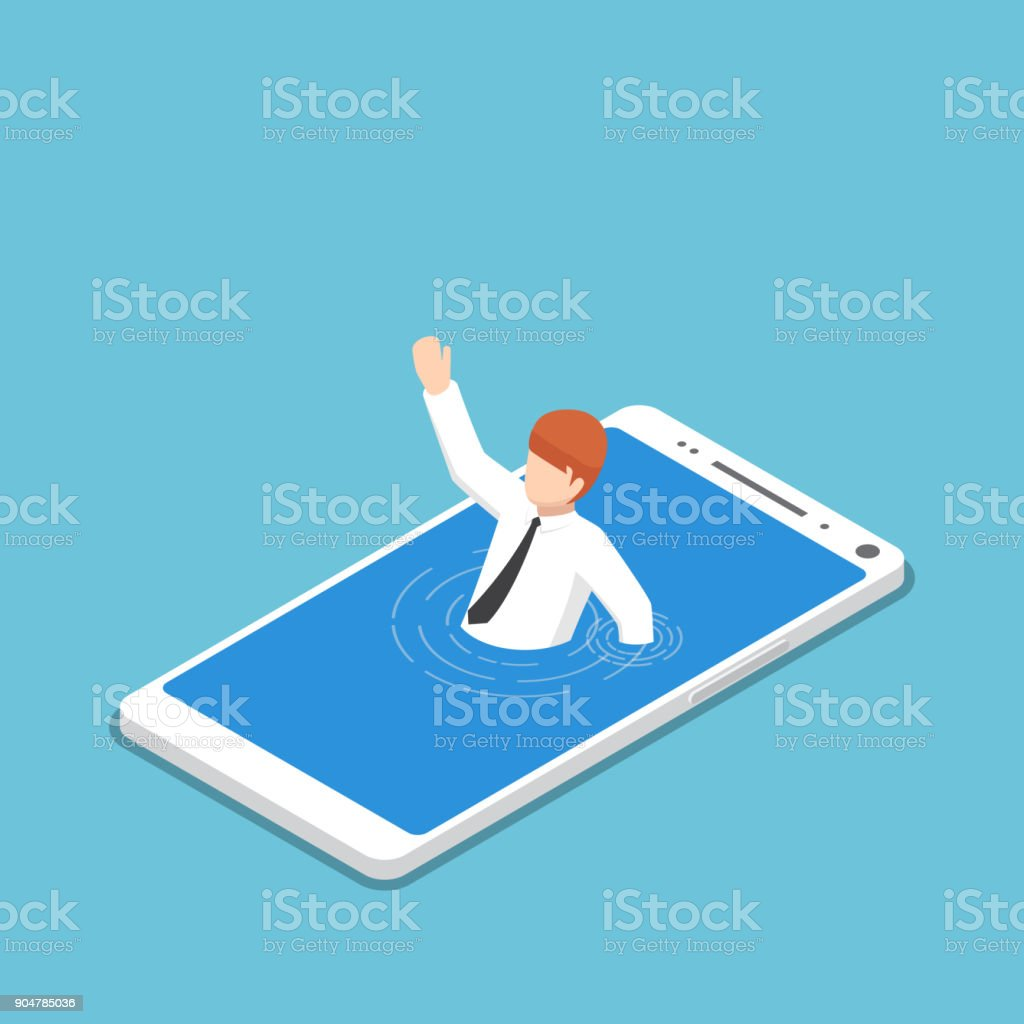 Isometric businessman drowning in smartphone. vector art illustration