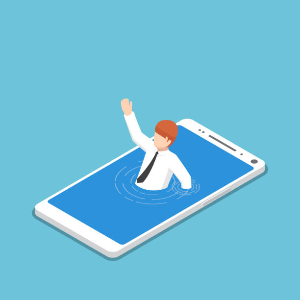 Isometric businessman drowning in smartphone. Flat 3d isometric businessman drowning in smartphone. Smartphone or mobile addiction concept. addict stock illustrations