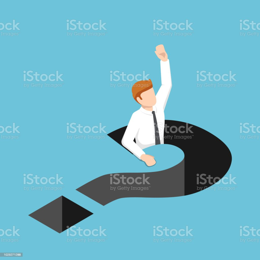 Isometric businessman falling into question mark hole vector art illustration