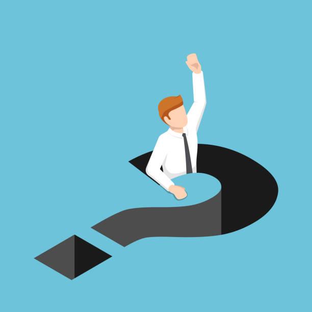 illustrazioni stock, clip art, cartoni animati e icone di tendenza di isometric businessman falling into question mark hole - question mark