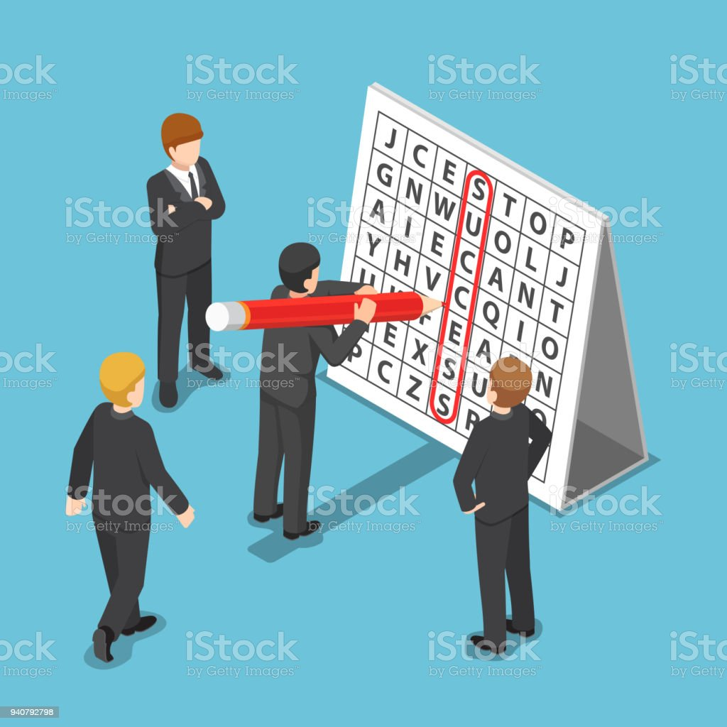 Isometric businessman found success in word search puzzle. vector art illustration