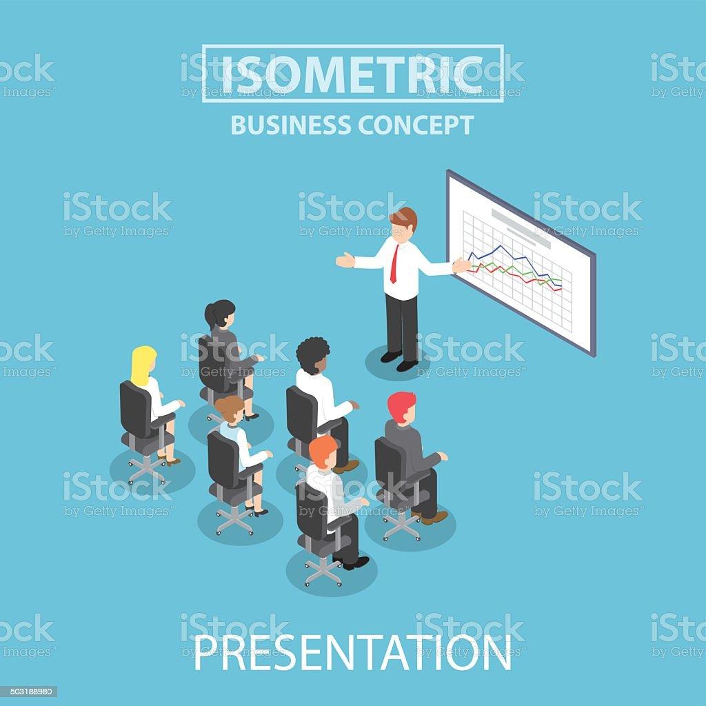 Isometric businessman giving a presentation in a conference meet vektör sanat illüstrasyonu