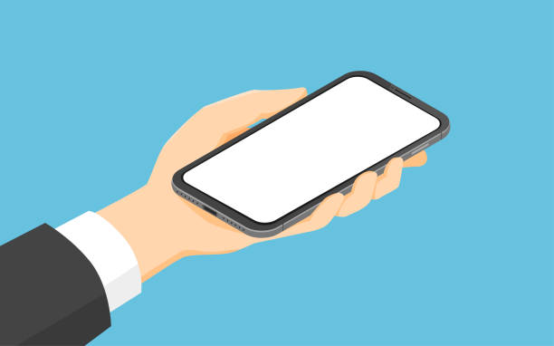 Isometrischer Geschäftsmann Hand hält Smartphone – Vektorgrafik