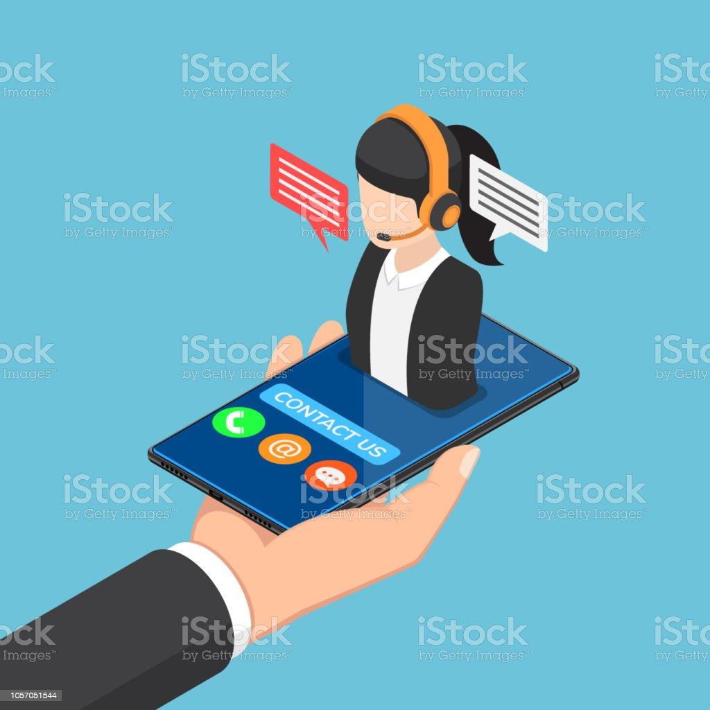 Technology Management Image: Isometric Businessman Hand Holding Smartphone With Female