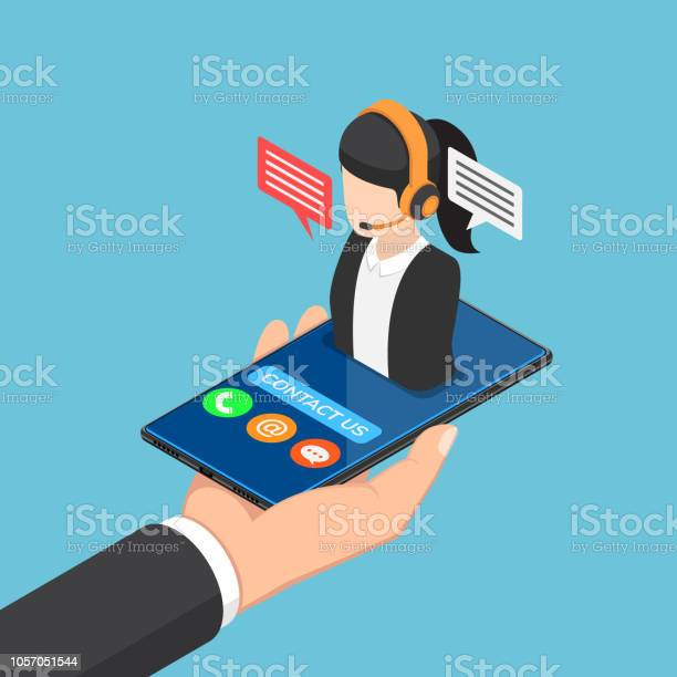 Isometric businessman hand holding smartphone with female call center vector id1057051544?b=1&k=6&m=1057051544&s=612x612&h=kiyib7dxpijft szwd9hxpurhboletrokmtaqj21y4q=