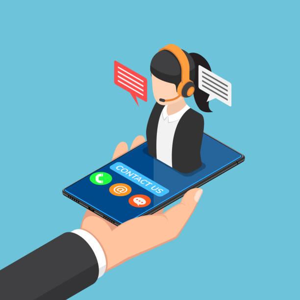 stockillustraties, clipart, cartoons en iconen met isometrische zakenman hand met smartphone met vrouwelijke call center pictogram - dienstverlening