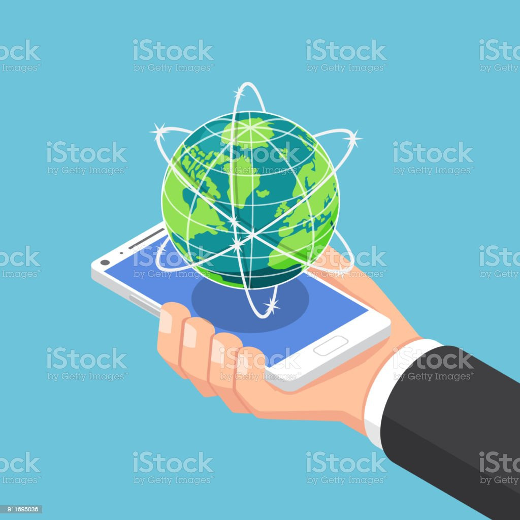 Isometric businessman hand holding smartphone with world and global network. vector art illustration