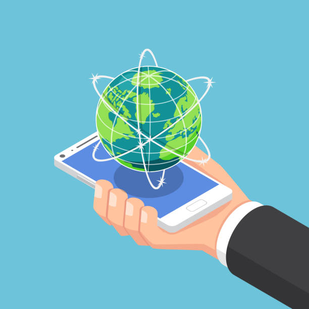bildbanksillustrationer, clip art samt tecknat material och ikoner med isometrisk affärsman handen håller smartphone med världen och globala nätverk. - internationellt företagande