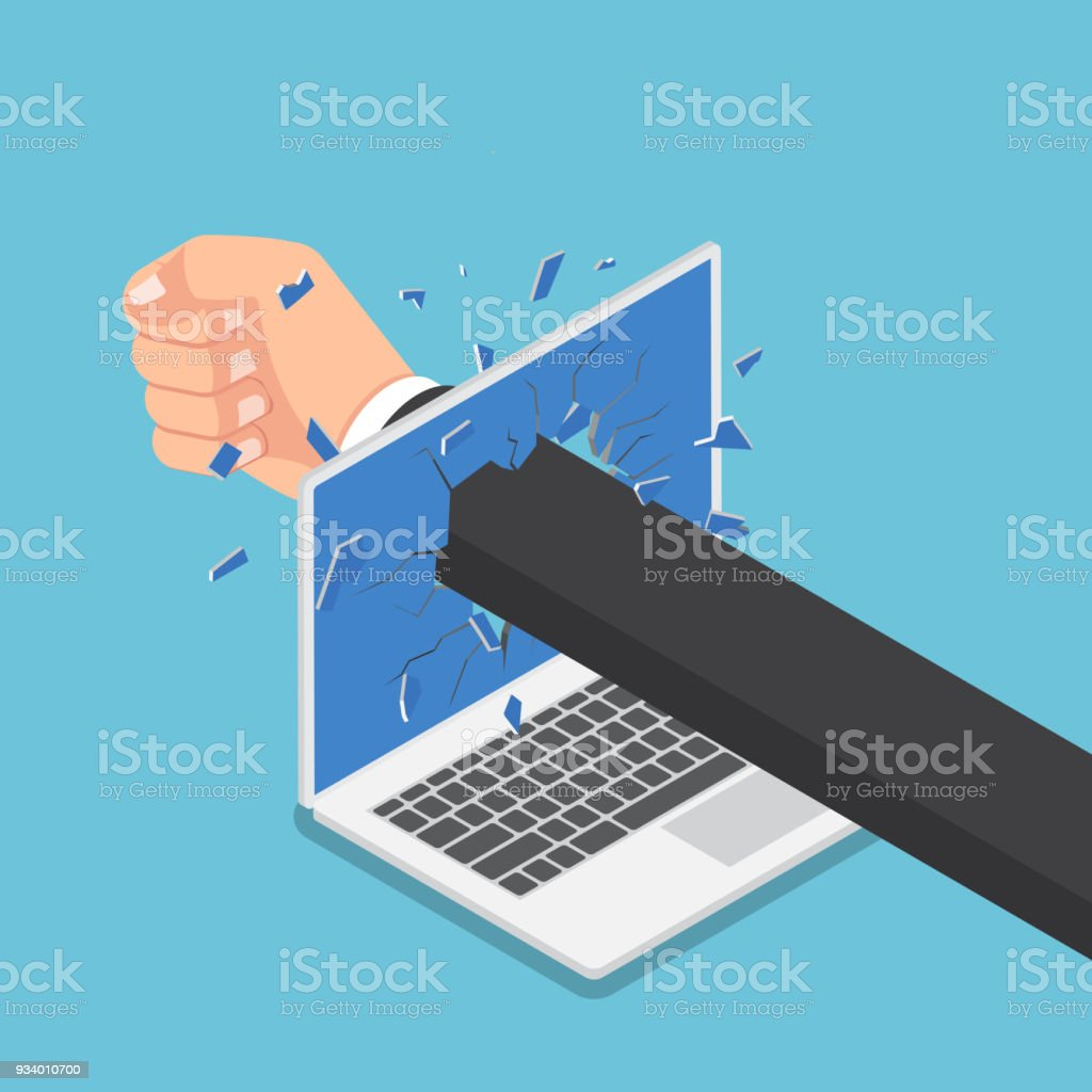 Isometric businessman hand punch through laptop monitor. vector art illustration