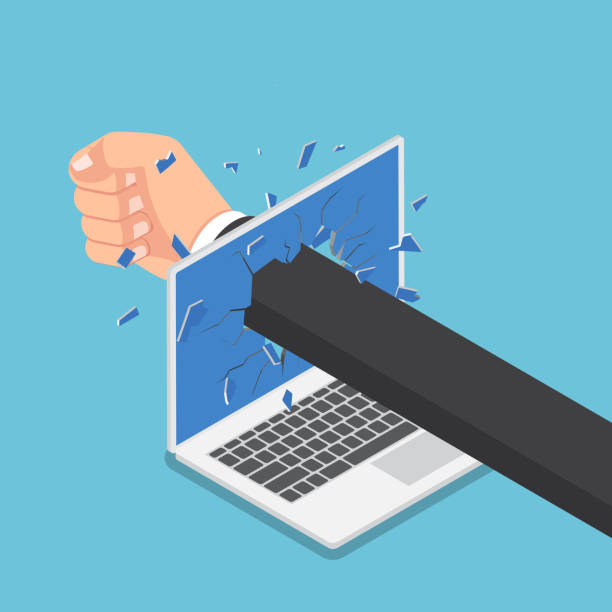 Isometric businessman hand punch through laptop monitor. Flat 3d isometric businessman hand punch through laptop monitor. Stress and angry concept. frustration stock illustrations