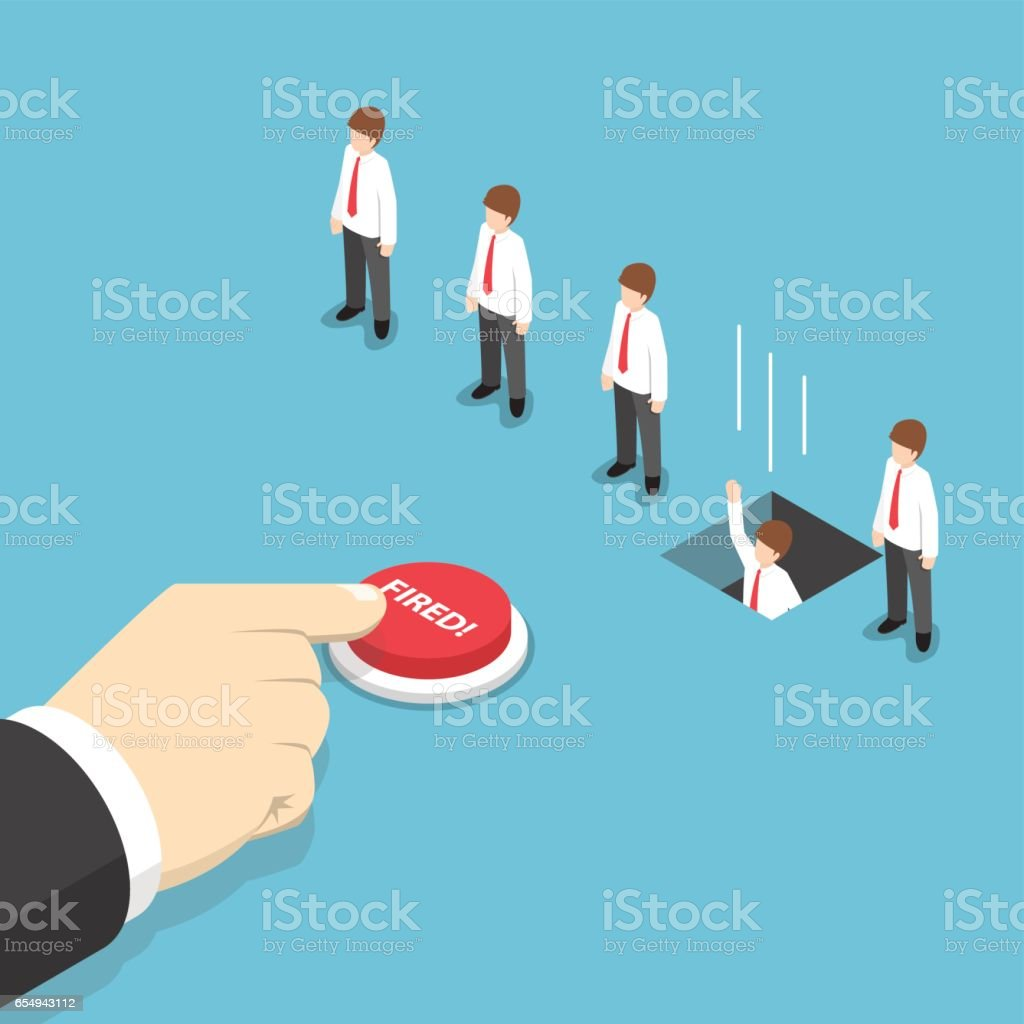 Isometric businessman hand pushing fired button to layoff his employee vector art illustration