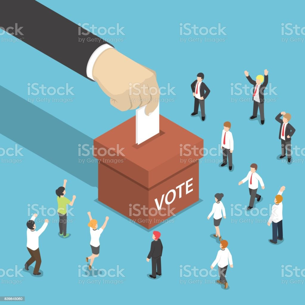 Isometric businessman hand put voting paper in the ballot box. vector art illustration