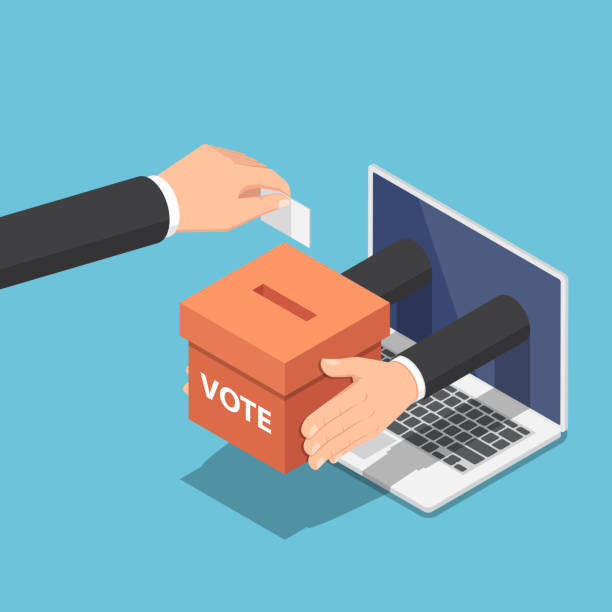 Isometric businessman hand putting voting paper into ballot box that come out from laptop monitor vector art illustration