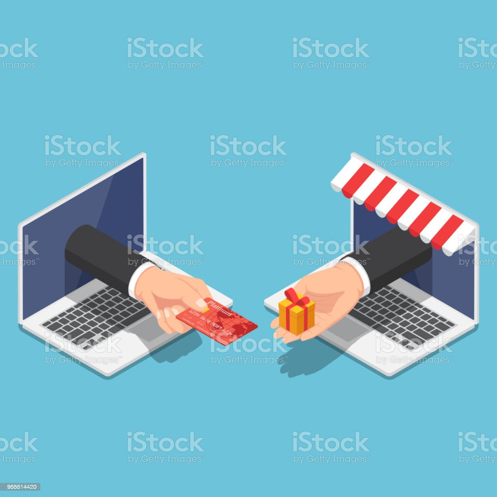 Isometric businessman hand use credit card to shopping online vector art illustration