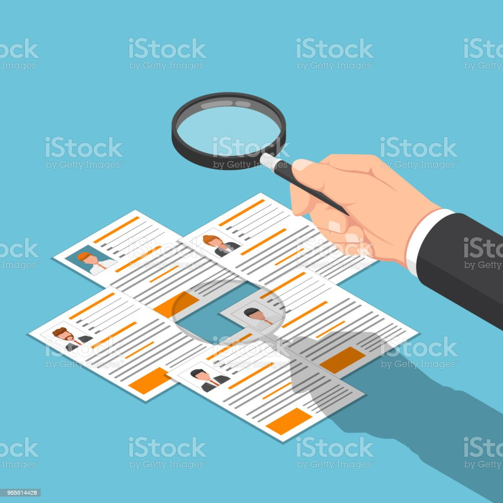 Isometric businessman hand viewing resume with magnifying glass. vector art illustration