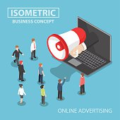 Isometric businessman hand with loudspeaker sticking out from laptop with people, social media marketing, online advertising concept, VECTOR, EPS10