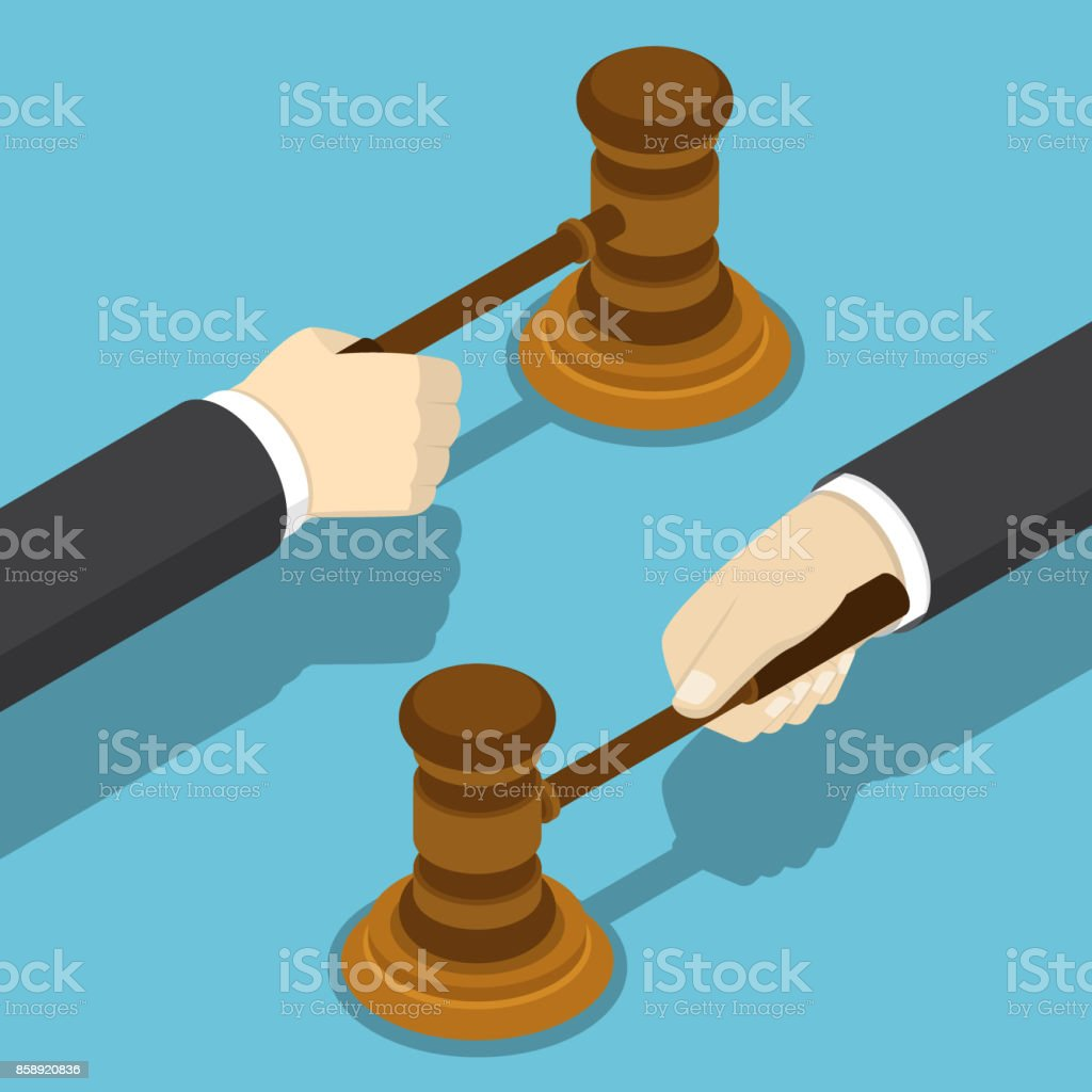 Isometric businessman hand with the judge gavel.