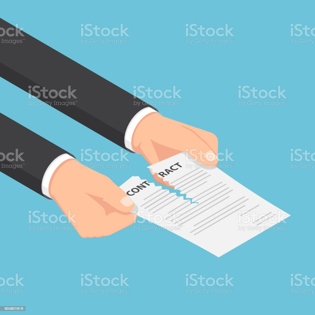 Isometric businessman hands tearing up a contract or agreement document. vector art illustration