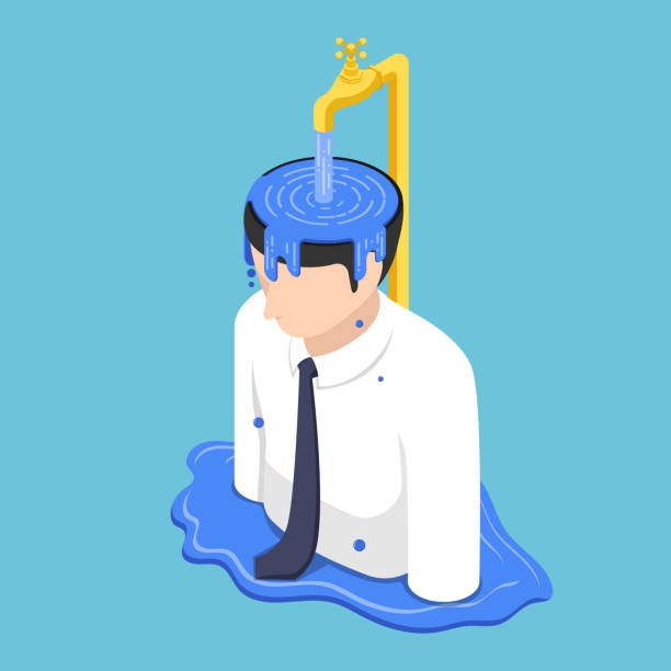 Isometric businessman head overflow by water from golden faucet vector art illustration