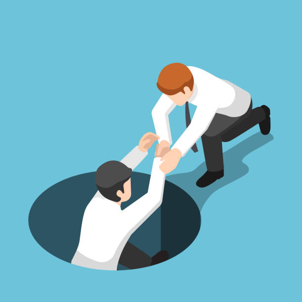 Isometric businessman help his friend climb up from the hole vector art illustration