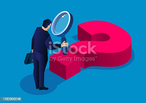 istock Isometric businessman holding a magnifying glass observing question mark under feet 1262900246