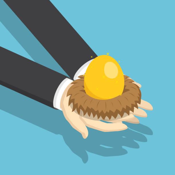 isometrische geschäftsmann hält nest mit goldenen ei. - ruhestand stock-grafiken, -clipart, -cartoons und -symbole
