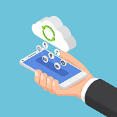 Flat 3d isometric businessman holding smartphone and send data to cloud. Cloud computing technology concept.