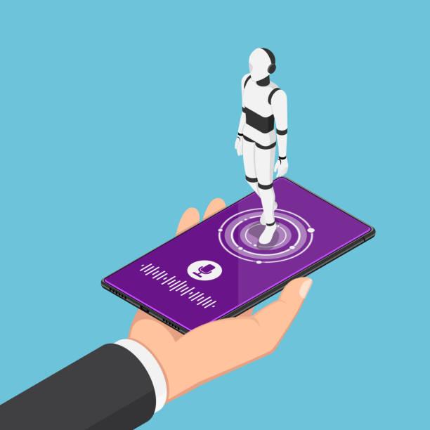 isometrische geschäftsmann hält smartphone mit ki-roboter-assistent - assistent stock-grafiken, -clipart, -cartoons und -symbole