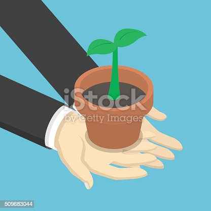 istock Isometric businessman holding sprout or little plant in his hand 509683044