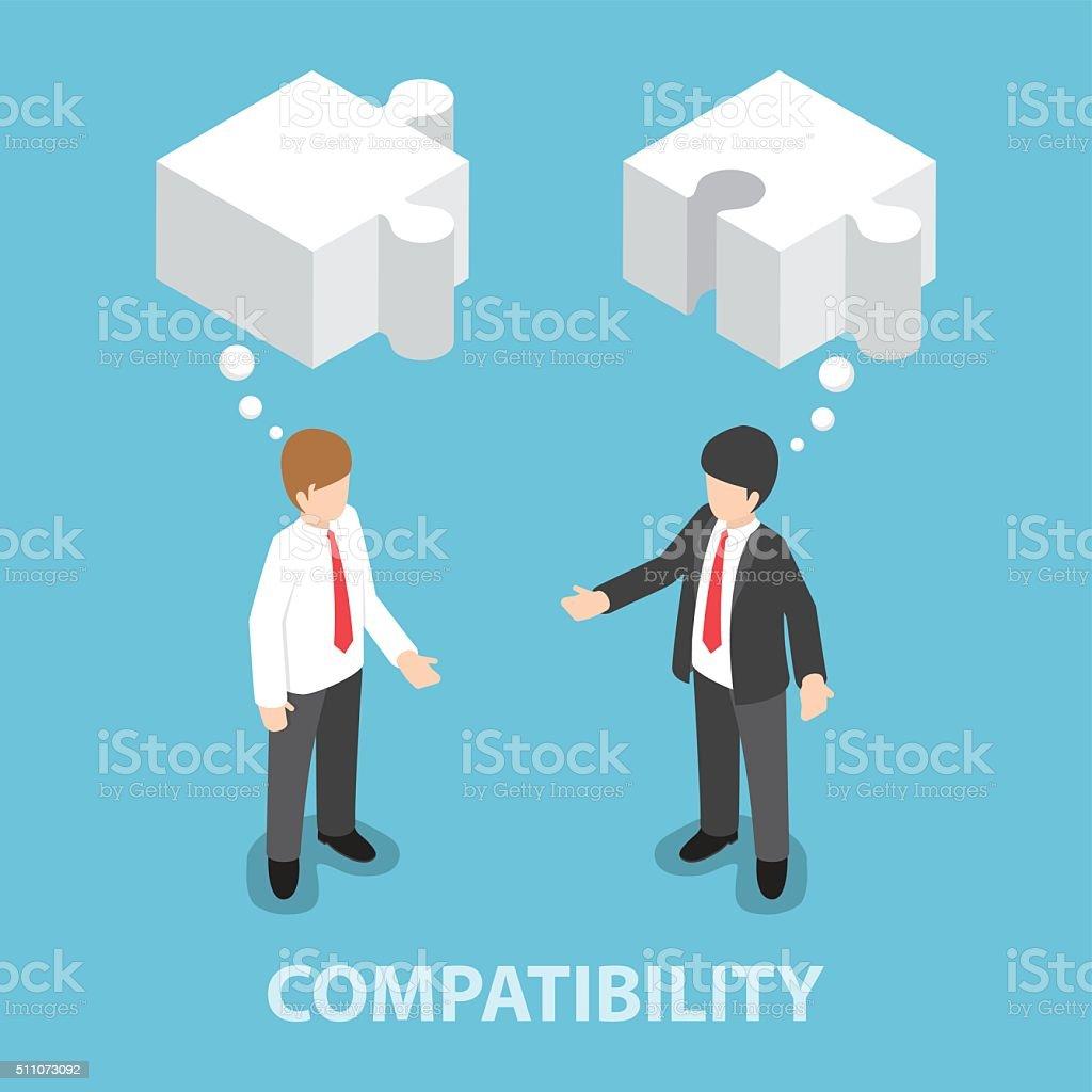 Isometric businessman in conversation with blank speech jigsaw s vector art illustration