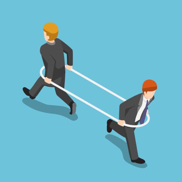 ilustraciones, imágenes clip art, dibujos animados e iconos de stock de empresario isométrico en el aro corriendo forma diferente unos de otros. - lucha