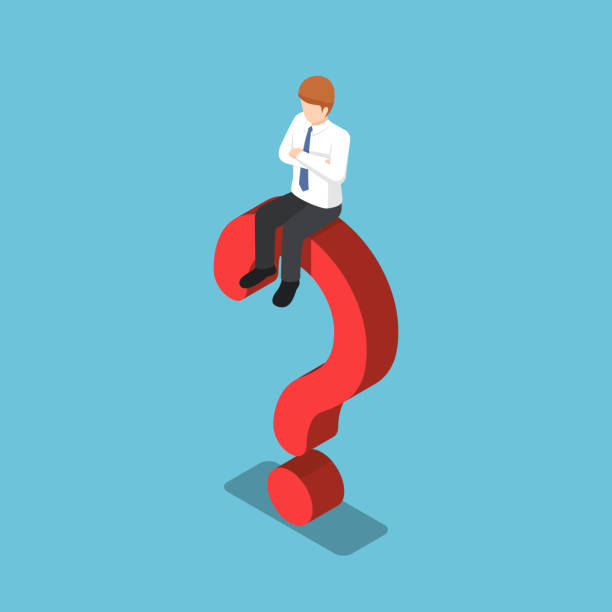 Isometric businessman is sitting on the question mark sign vector art illustration