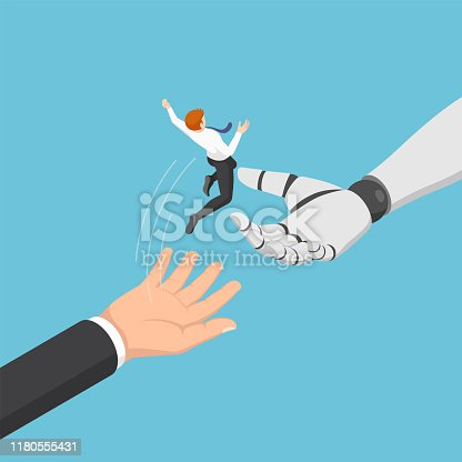 Flat 3d isometric businessman jump from human to ai robot hand. Artificial intelligence and moving into the era of AI concept.