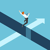Flat 3d isometric businessman jumping over the gap between cliffs. Business risk and leadership concept.