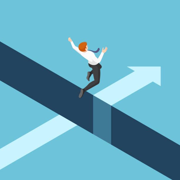Isometric businessman jumping over the gap between cliffs Flat 3d isometric businessman jumping over the gap between cliffs. Business risk and leadership concept. cliff stock illustrations