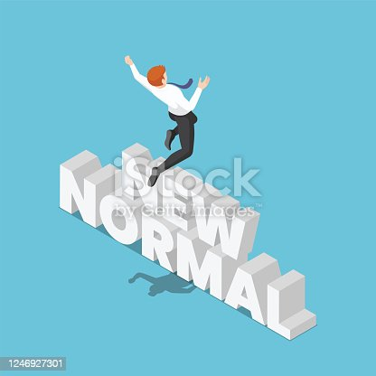 Flat 3d Isometric Businessman Jumping Over The New Normal Text. New Normal Behavior After Covid-19 or Corona Virus Concept.