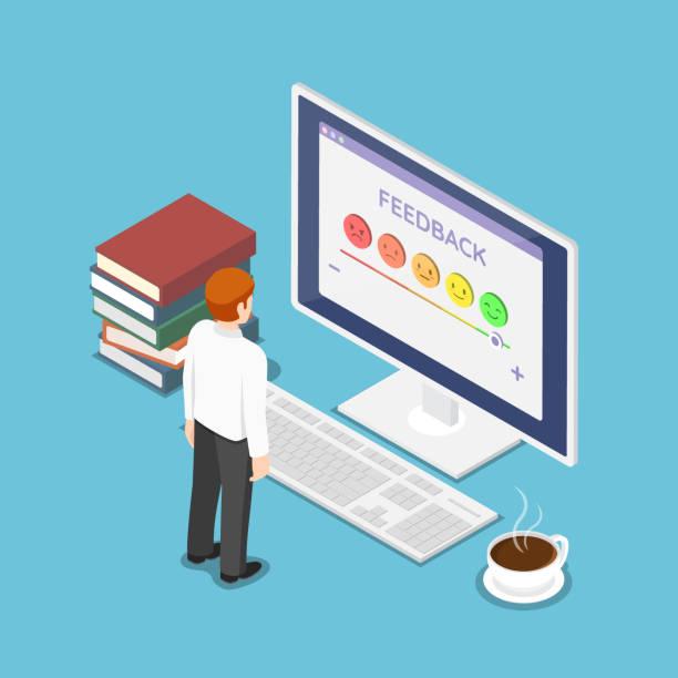 Isometric businessman look at rating screen vector art illustration