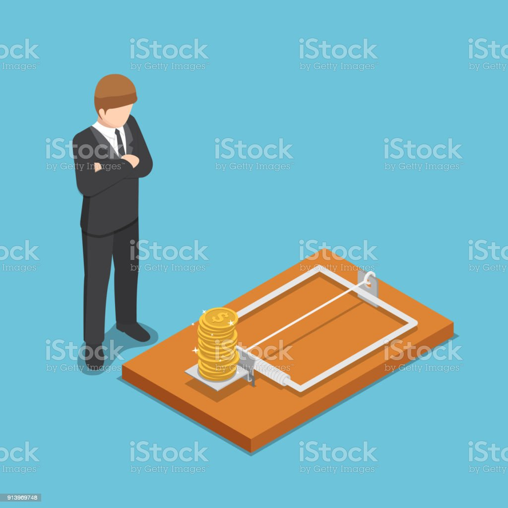 Isometric businessman looking at dollar coin on mousetrap. vector art illustration