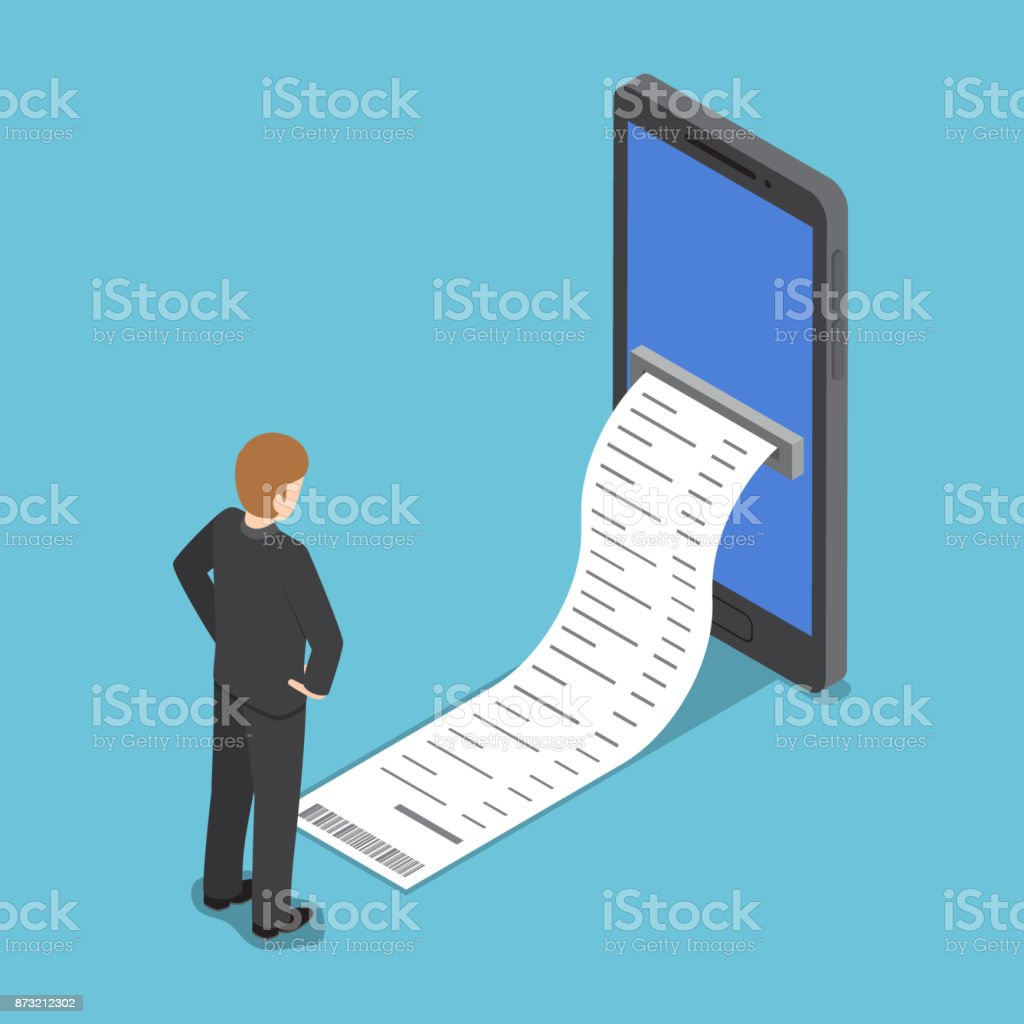 Isometric businessman looking at the bill come out from smartphone. vector art illustration