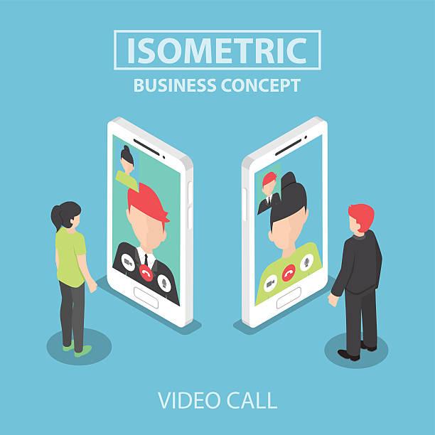 ilustrações de stock, clip art, desenhos animados e ícones de minibarra de ferramentas empresário efectue videochamadas com o seu colega no smar - video call