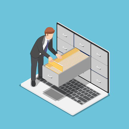 Isometric businessman manage document folders in cabinet inside the laptop screen